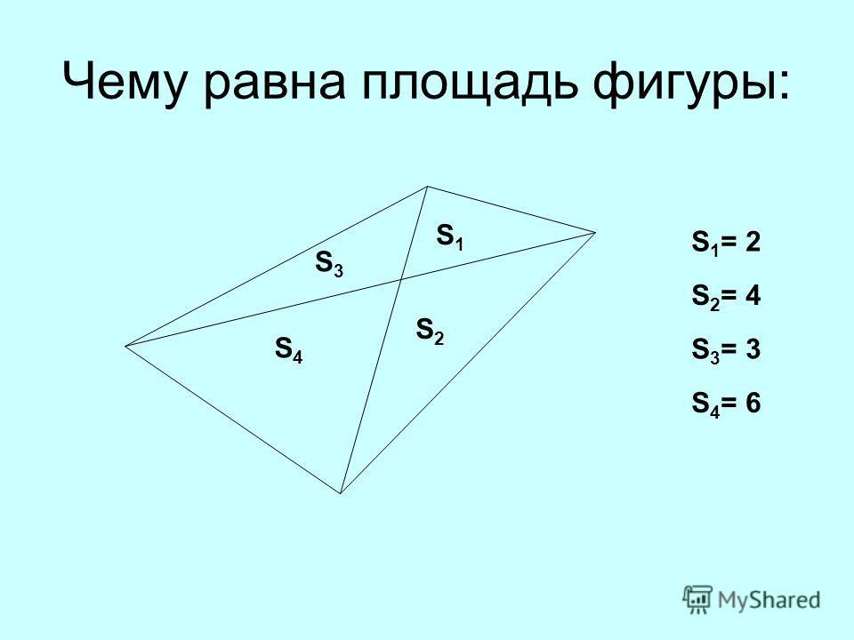 Чему равна площадь фигуры: S 1 = 2 S 2 = 4 S 3 = 3 S 4 = 6 S1S1 S2S2 S3S3 S4S4