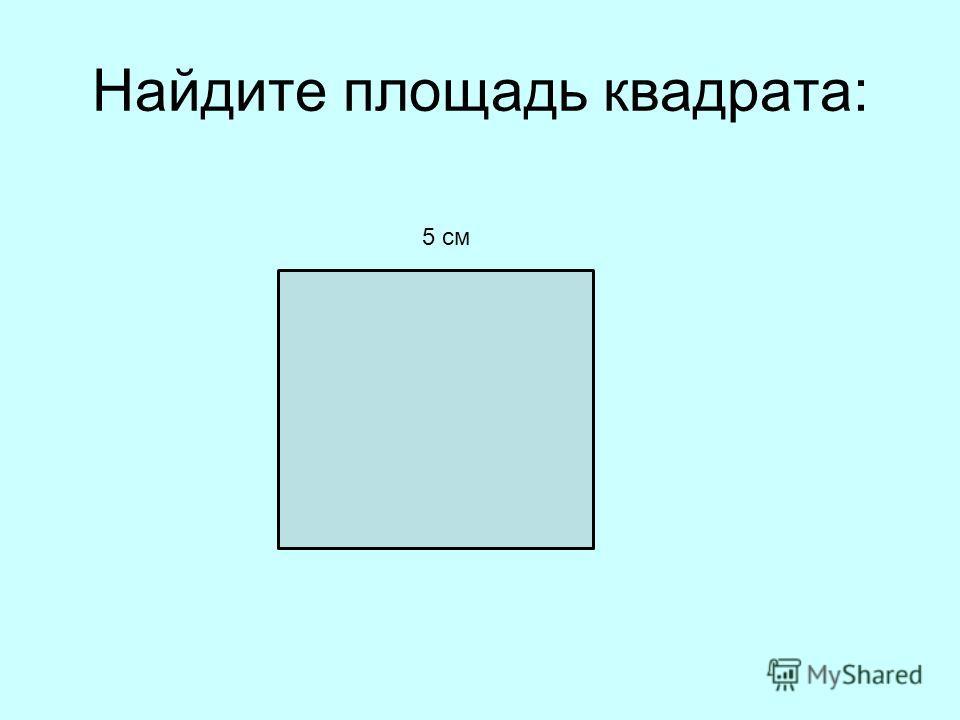 Найдите площадь квадрата: 5 см