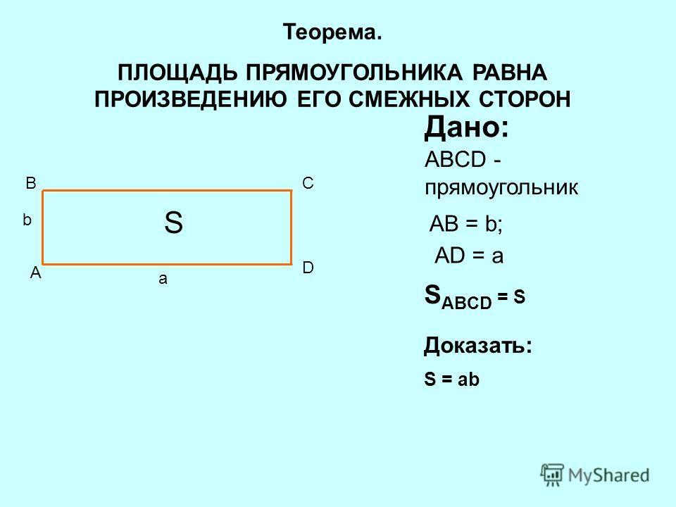 A BC D S Дано: ABCD - прямоугольник AB = b; AD = a S ABCD = S Доказать: S = ab b a Теорема. ПЛОЩАДЬ ПРЯМОУГОЛЬНИКА РАВНА ПРОИЗВЕДЕНИЮ ЕГО СМЕЖНЫХ СТОРОН