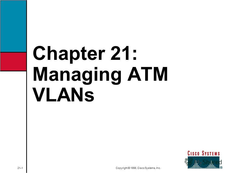 Chapter 21: Managing ATM VLANs 21-1 Copyright © 1998, Cisco Systems, Inc.