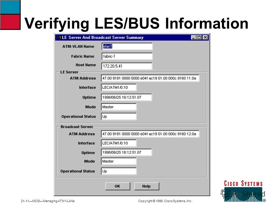 21-11MCSIManaging ATM VLANs Copyright © 1998, Cisco Systems, Inc. Verifying LES/BUS Information