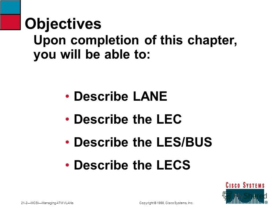 21-2MCSIManaging ATM VLANs Copyright © 1998, Cisco Systems, Inc. Describe LANE Describe the LEC Describe the LES/BUS Describe the LECS Upon completion of this chapter, you will be able to: Objectives