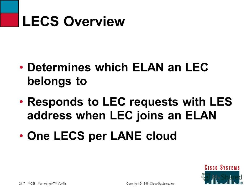 21-7MCSIManaging ATM VLANs Copyright © 1998, Cisco Systems, Inc. Determines which ELAN an LEC belongs to Responds to LEC requests with LES address when LEC joins an ELAN One LECS per LANE cloud LECS Overview