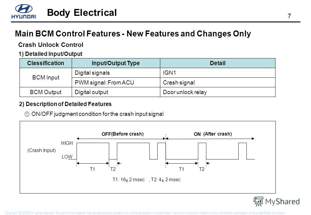 7 Body Electrical Copyright 2009 All rights reserved. No part of this material may be reproduced, stored in any retrieval system or transmitted in any form or by any means without the written permission of Hyundai Motor Company. Main BCM Control Feat