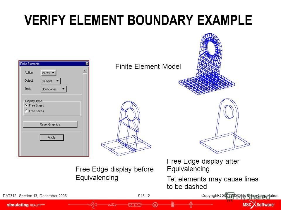 PAT312, Section 13, December 2006 S13-12 Copyright 2007 MSC.Software Corporation VERIFY ELEMENT BOUNDARY EXAMPLE Free Edge display after Equivalencing Tet elements may cause lines to be dashed Finite Element Model Free Edge display before Equivalenci