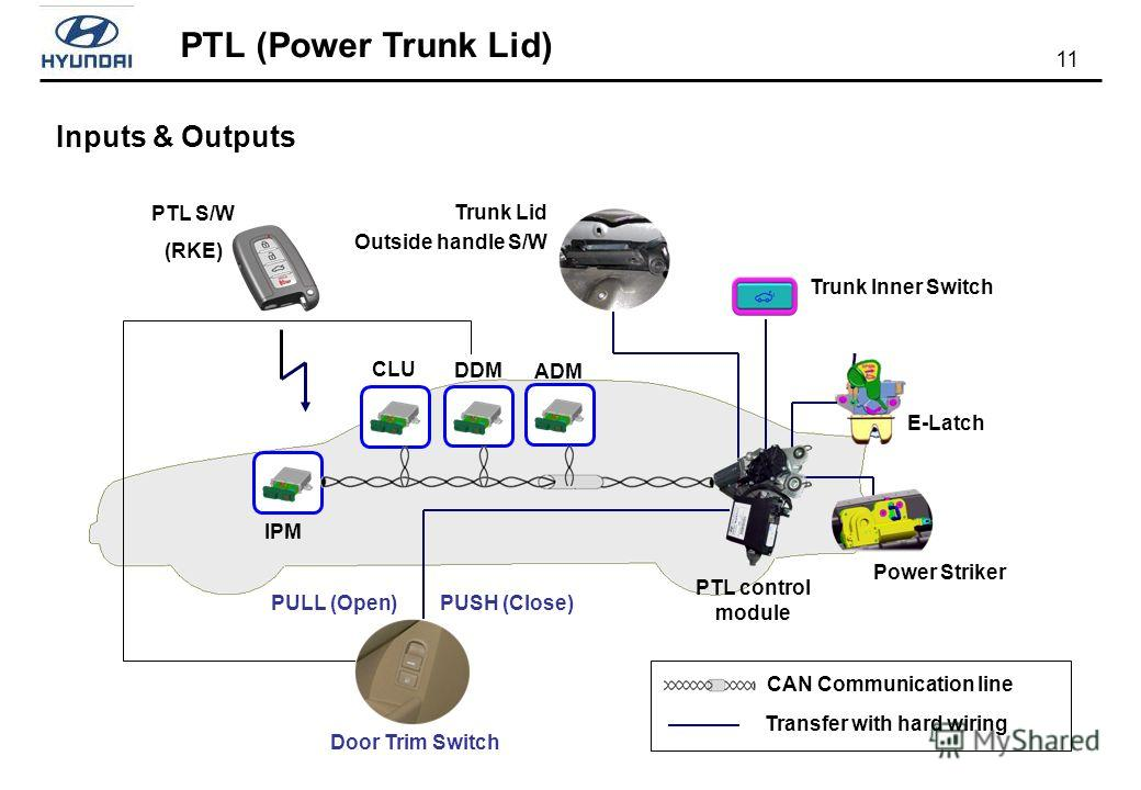 PTL (Power Trunk Lid) 11 IPM PTL control module E-Latch Power Striker Door Trim Switch PTL S/W (RKE) Trunk Lid Outside handle S/W Trunk Inner Switch CAN Communication line Transfer with hard wiring ADM DDM CLU PUSH (Close)PULL (Open) Inputs & Outputs