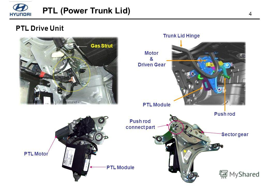 PTL (Power Trunk Lid) 4 PTL Module Push rod Trunk Lid Hinge Motor & Driven Gear PTL Module PTL Motor Sector gear Push rod connect part PTL Drive Unit Gas Strut