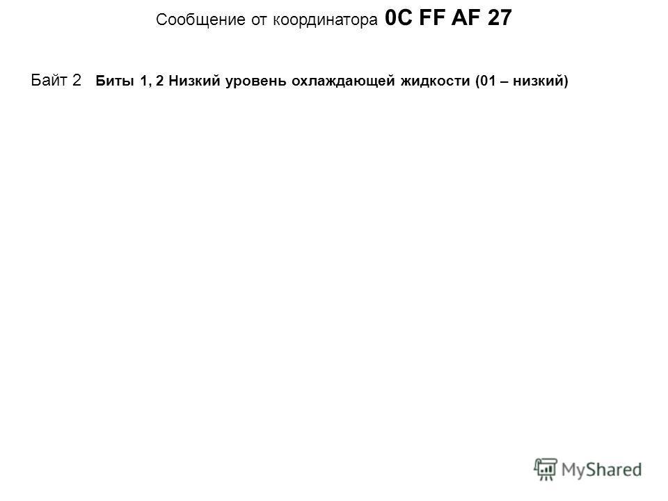 Cообщение от координатора 0C FF AF 27 Байт 2 Биты 1, 2 Низкий уровень охлаждающей жидкости (01 – низкий)