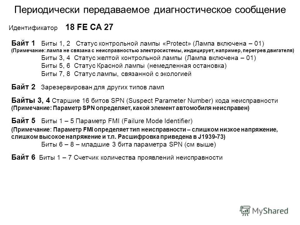 Периодически передаваемое диагностическое сообщение Идентификатор 18 FЕ СА 27 Байт 1 Биты 1, 2 Статус контрольной лампы «Protect» (Лампа включена – 01) (Примечание: лампа не связана с неисправностью электросистемы, индицирует, например, перегрев двиг