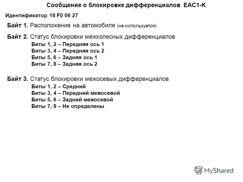 Cообщение о блокировке дифференциалов EAC1-K Идентификатор 18 F0 06 27 Байт 1. Расположение на автомобиле (не используется) Байт 2. Статус блокировки межколесных дифференциалов Биты 1, 2 – Передняя ось 1 Биты 3, 4 – Передняя ось 2 Биты 5, 6 – Задняя