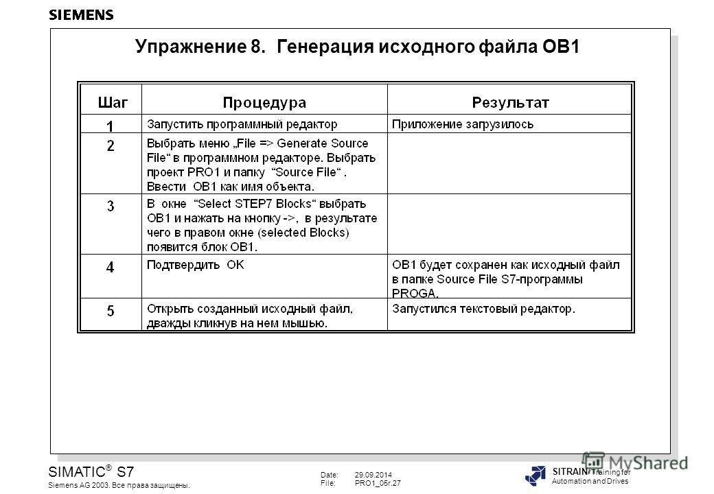 Date:29.09.2014 File:PRO1_05r.27 SIMATIC ® S7 Siemens AG 2003. Все права защищены. SITRAIN Training for Automation and Drives Упражнение 8. Генерация исходного файла OB1