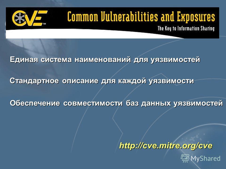 http://cve.mitre.org/cve Единая система наименований для уязвимостей Стандартное описание для каждой уязвимости Обеспечение совместимости баз данных уязвимостей