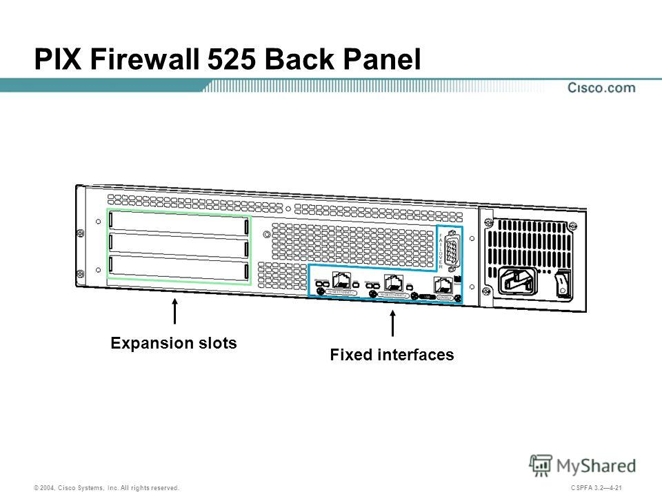 © 2004, Cisco Systems, Inc. All rights reserved. CSPFA 3.24-21 PIX Firewall 525 Back Panel Expansion slots Fixed interfaces
