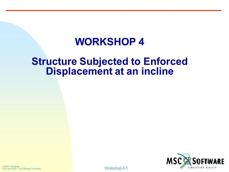 Workshop 4-1 NAS101 Workshops Copyright 2001 MSC.Software Corporation WORKSHOP 4 Structure Subjected to Enforced Displacement at an incline