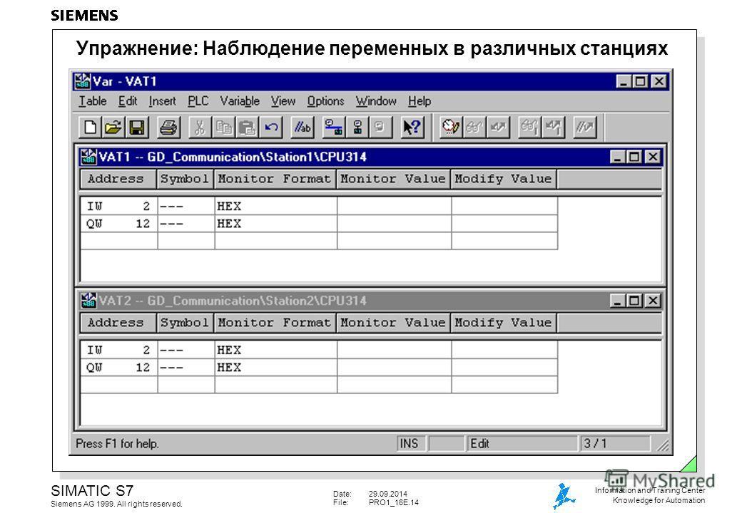 Date:29.09.2014 File:PRO1_16E.14 SIMATIC S7 Siemens AG 1999. All rights reserved. Information and Training Center Knowledge for Automation Упражнение: Наблюдение переменных в различных станциях