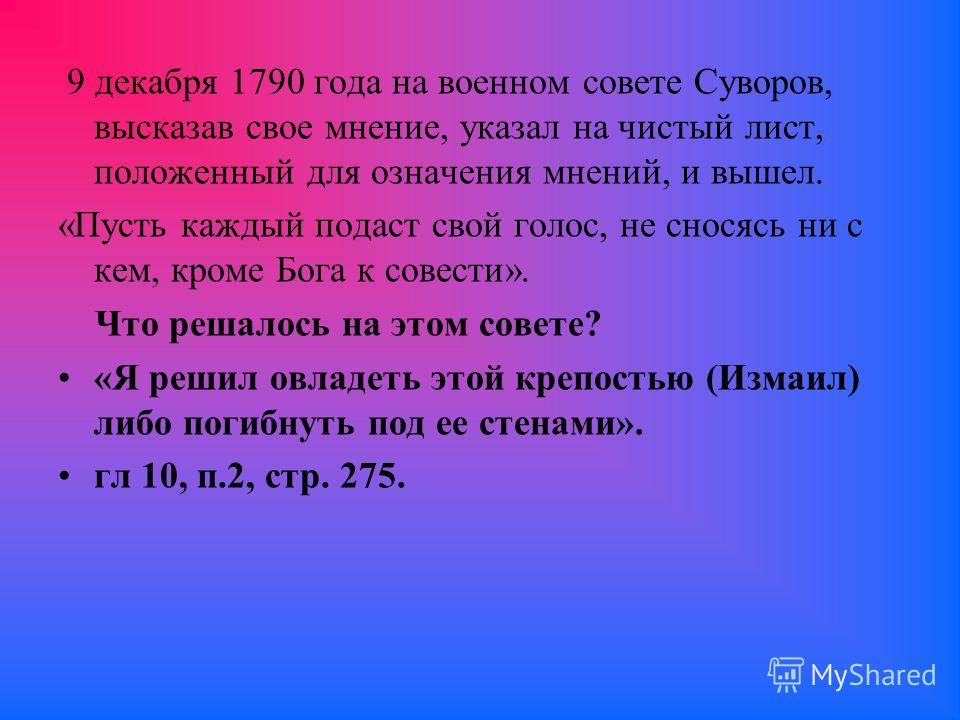 9 декабря 1790 года на военном совете Суворов, высказав свое мнение, указал на чистый лист, положенный для означения мнений, и вышел. «Пусть каждый подаст свой голос, не сносясь ни с кем, кроме Бога к совести». Что решалось на этом совете? «Я решил о