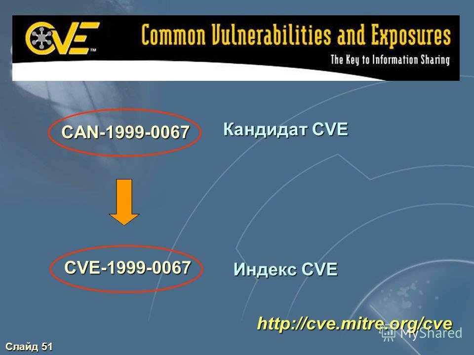 Слайд 50 http://cve.mitre.org/cve Единая система наименований для уязвимостей Стандартное описание для каждой уязвимости Обеспечение совместимости баз данных уязвимостей
