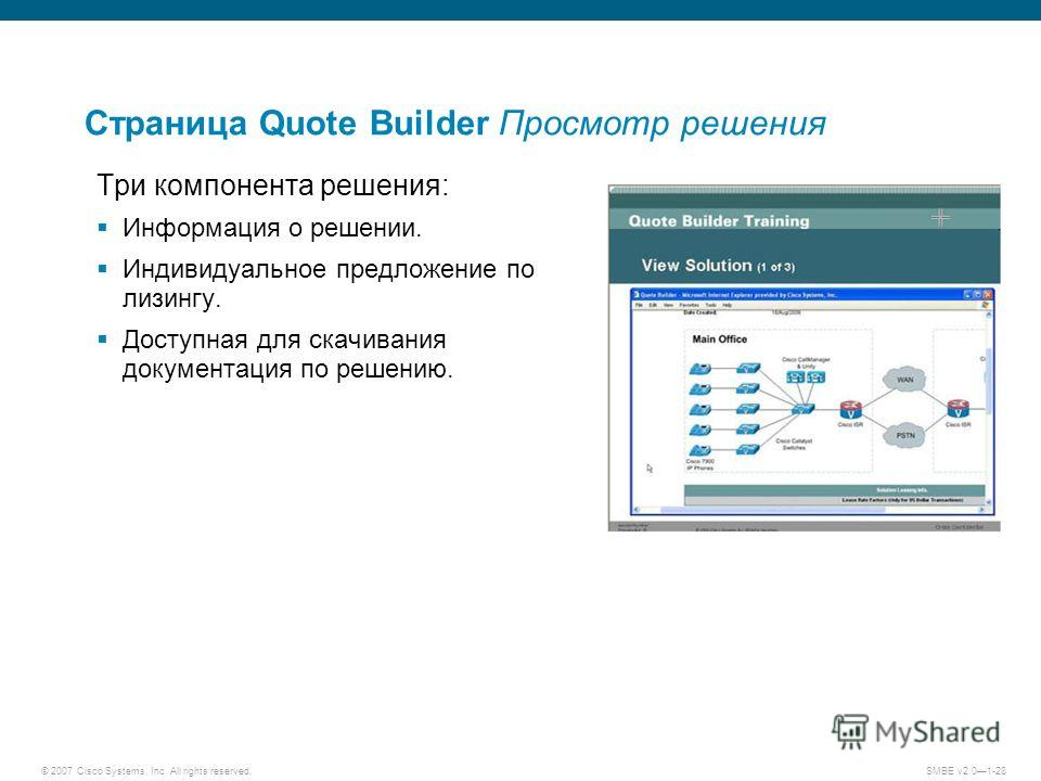 © 2007 Cisco Systems, Inc. All rights reserved. SMBE v2.01-28 Страница Quote Builder Просмотр решения Три компонента решения: Информация о решении. Индивидуальное предложение по лизингу. Доступная для скачивания документация по решению.