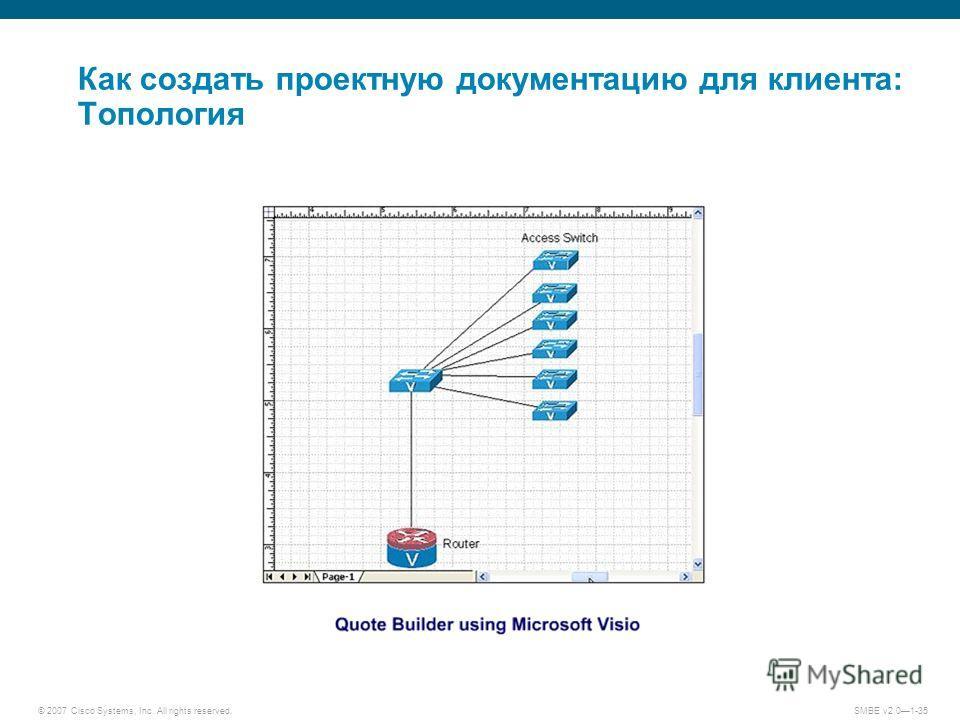 © 2007 Cisco Systems, Inc. All rights reserved. SMBE v2.01-35 Как создать проектную документацию для клиента: Топология