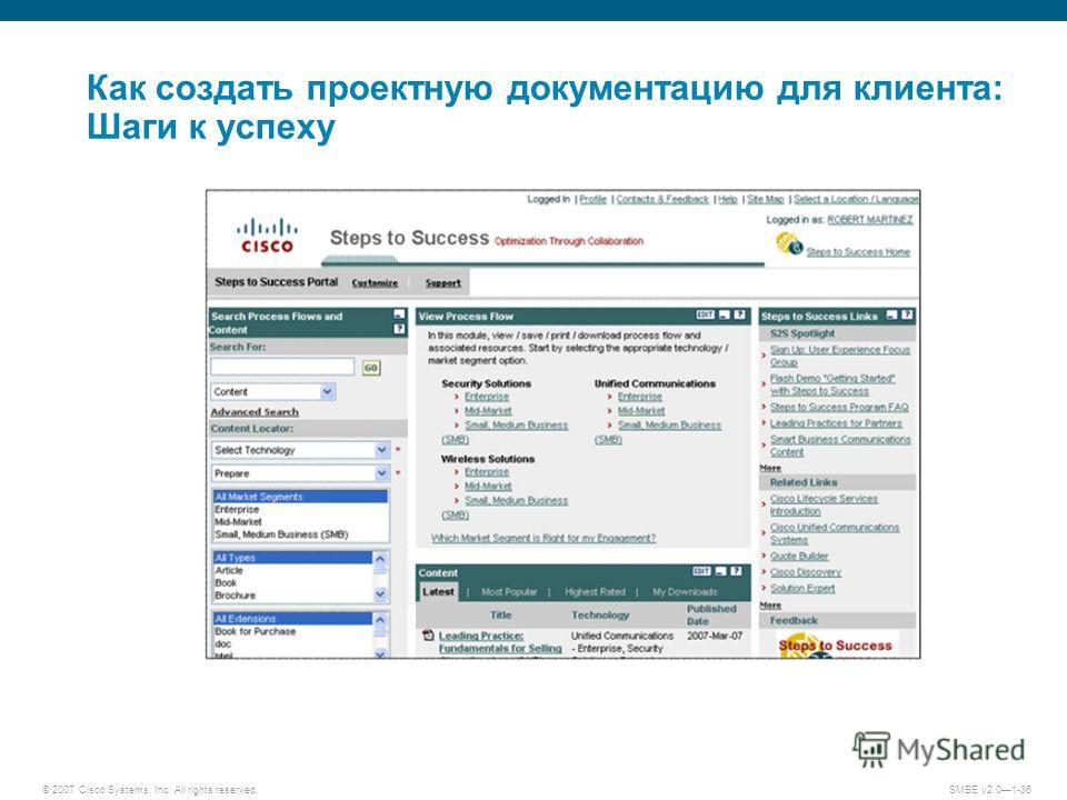 © 2007 Cisco Systems, Inc. All rights reserved. SMBE v2.01-36 Как создать проектную документацию для клиента: Шаги к успеху