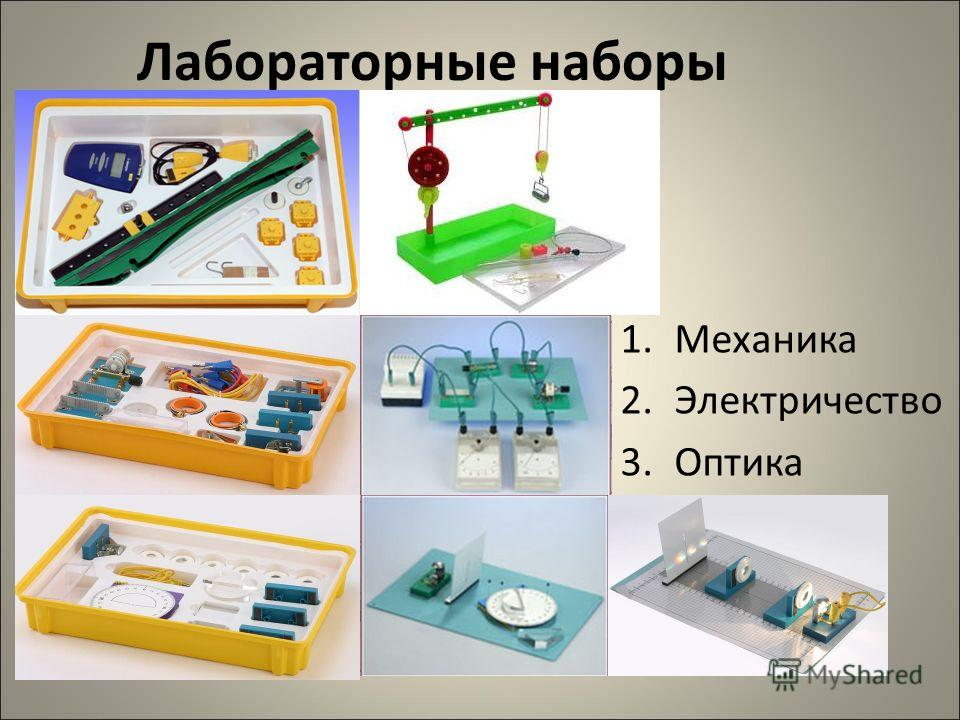 Лабораторные наборы 1. Механика 2. Электричество 3.Оптика