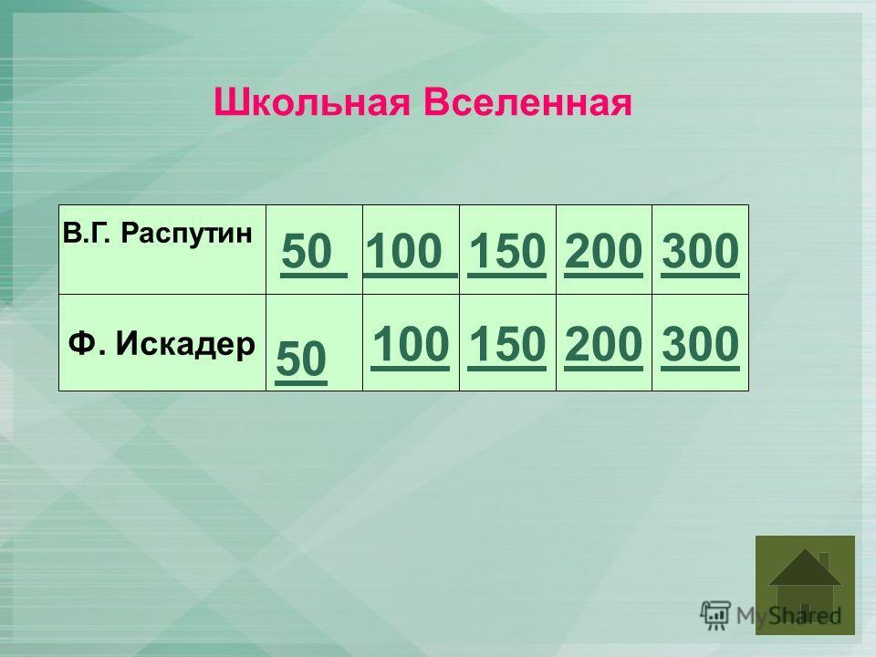 Школьная Вселенная В.Г. Распутин Ф. Искадер 50 100 150 200300 200300