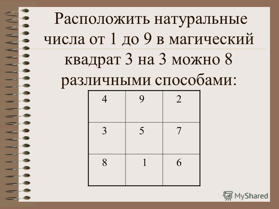Расположить натуральные числа от 1 до 9 в магический квадрат 3 на 3 можно 8 различными способами: 4 9 2 3 5 7 8 1 6