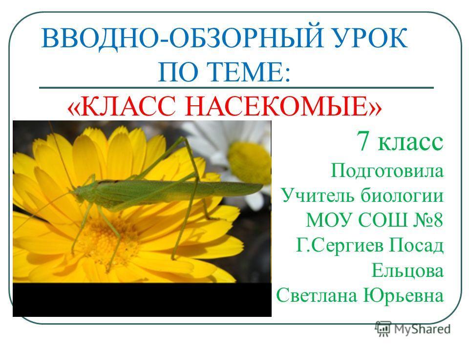 ВВОДНО-ОБЗОРНЫЙ УРОК ПО ТЕМЕ: «КЛАСС НАСЕКОМЫЕ» 7 класс Подготовила Учитель биологии МОУ СОШ 8 Г.Сергиев Посад Ельцова Светлана Юрьевна