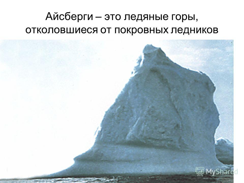 Айсберги – это ледяные горы, отколовшиеся от покровных ледников