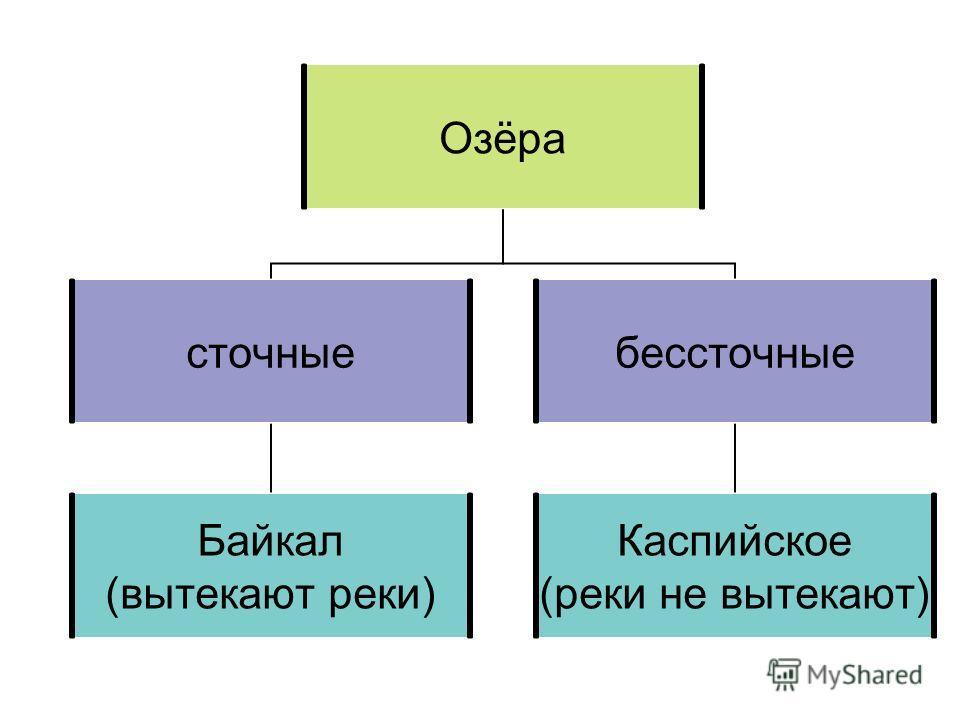 Озёра сточные Байкал (вытекают реки) бессточные Каспийское (реки не вытекают)