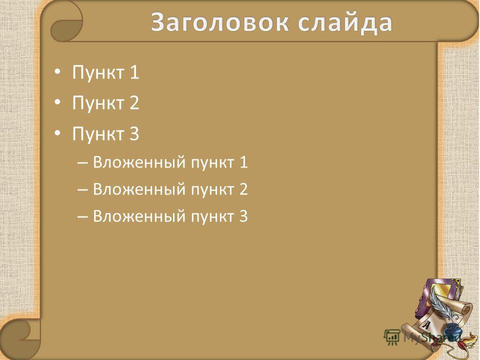 Пункт 1 Пункт 2 Пункт 3 – Вложенный пункт 1 – Вложенный пункт 2 – Вложенный пункт 3