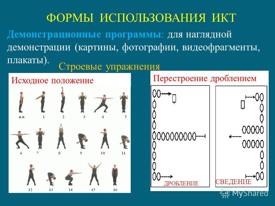 Упражнения можно показывать в трех вариантах : видеозапись, флэш - анимация и рисунок Учитель может самостоятельно определить то, каким материалом ему лучше воспользоваться.