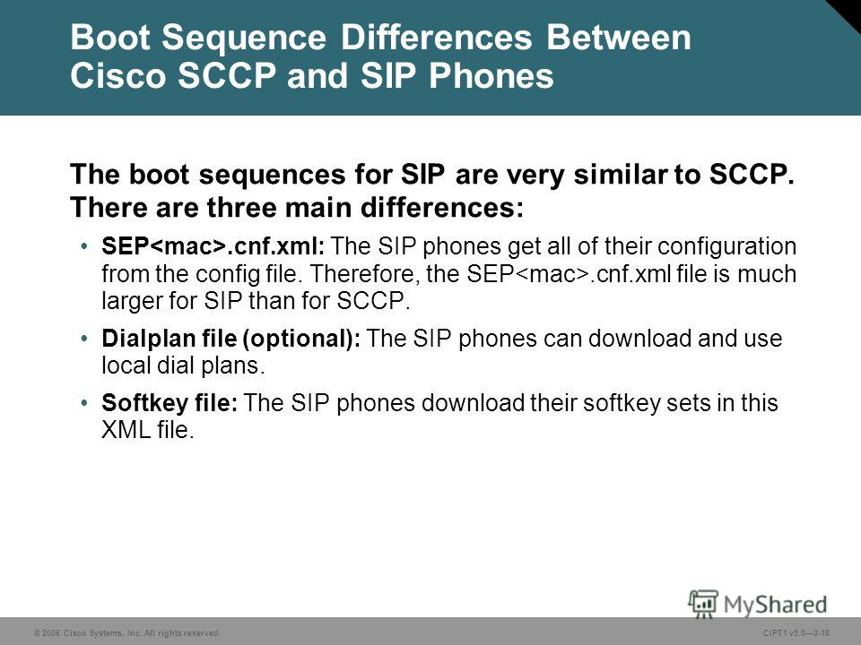 © 2006 Cisco Systems, Inc. All rights reserved. CIPT1 v5.03-18 Boot Sequence Differences Between Cisco SCCP and SIP Phones The boot sequences for SIP are very similar to SCCP. There are three main differences: SEP.cnf.xml: The SIP phones get all of t