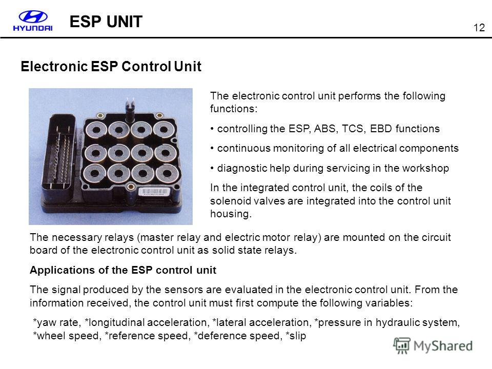 12 Electronic ESP Control Unit The electronic control unit performs the following functions: controlling the ESP, ABS, TCS, EBD functions continuous monitoring of all electrical components diagnostic help during servicing in the workshop In the integ