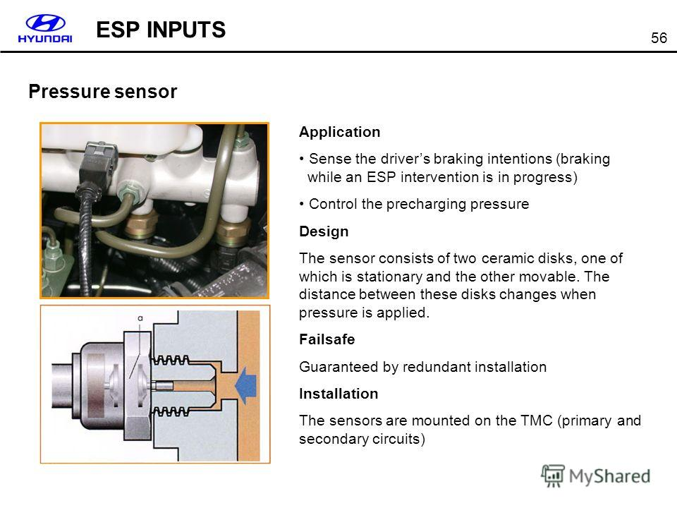 56 Pressure sensor Application Sense the drivers braking intentions (braking while an ESP intervention is in progress) Control the precharging pressure Design The sensor consists of two ceramic disks, one of which is stationary and the other movable.