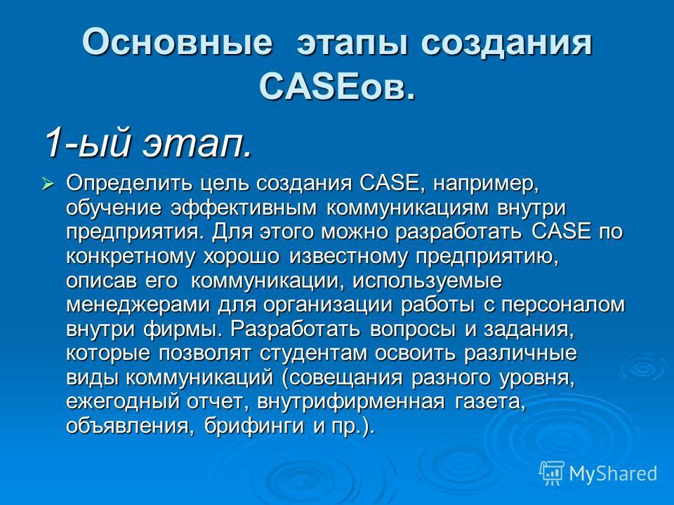 Основные этапы создания CASEов. 1-ый этап. Определить цель создания CASE, например, обучение эффективным коммуникациям внутри предприятия. Для этого можно разработать CASE по конкретному хорошо известному предприятию, описав его коммуникации, использ