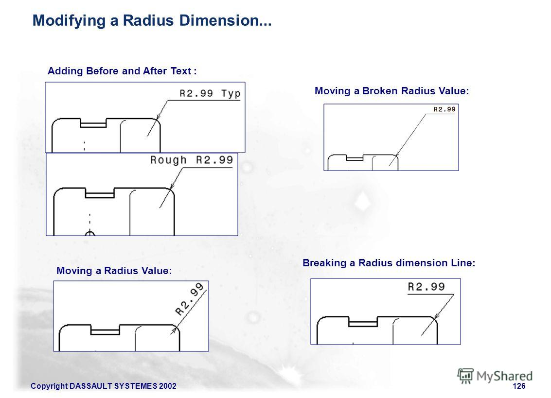 Copyright DASSAULT SYSTEMES 2002126 Adding Before and After Text : Moving a Radius Value: Moving a Broken Radius Value: Breaking a Radius dimension Line: Modifying a Radius Dimension...