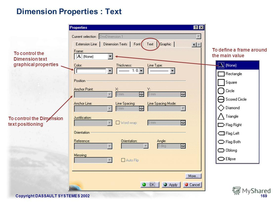Copyright DASSAULT SYSTEMES 2002169 To define a frame around the main value To control the Dimension text graphical properties To control the Dimension text positioning Dimension Properties : Text