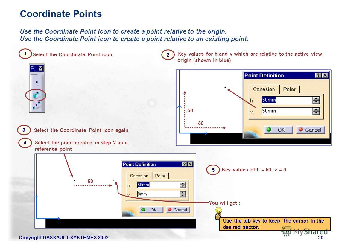 Copyright DASSAULT SYSTEMES 200220 Select the Coordinate Point icon Use the Coordinate Point icon to create a point relative to the origin. Use the Coordinate Point icon to create a point relative to an existing point. Select the Coordinate Point ico