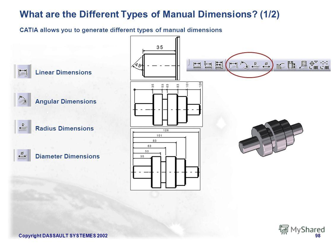 Copyright DASSAULT SYSTEMES 200298 CATIA allows you to generate different types of manual dimensions Linear Dimensions Angular Dimensions Radius Dimensions What are the Different Types of Manual Dimensions? (1/2) Diameter Dimensions