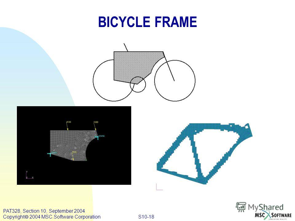 S10-18 PAT328, Section 10, September 2004 Copyright 2004 MSC.Software Corporation BICYCLE FRAME