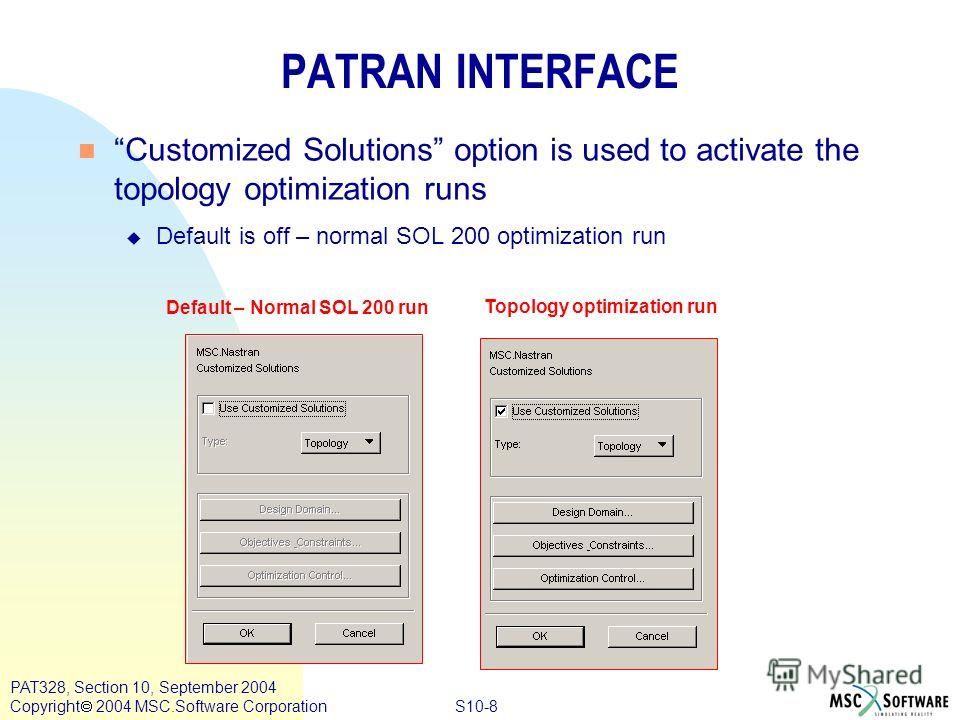 S10-8 PAT328, Section 10, September 2004 Copyright 2004 MSC.Software Corporation PATRAN INTERFACE n Customized Solutions option is used to activate the topology optimization runs u Default is off – normal SOL 200 optimization run Default – Normal SOL