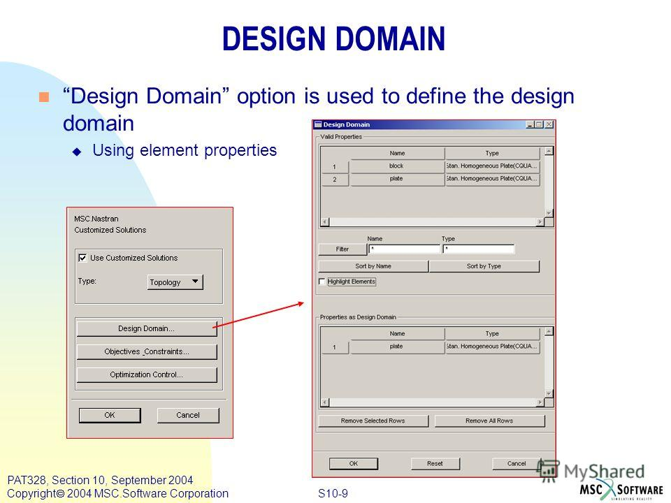 S10-9 PAT328, Section 10, September 2004 Copyright 2004 MSC.Software Corporation DESIGN DOMAIN n Design Domain option is used to define the design domain u Using element properties