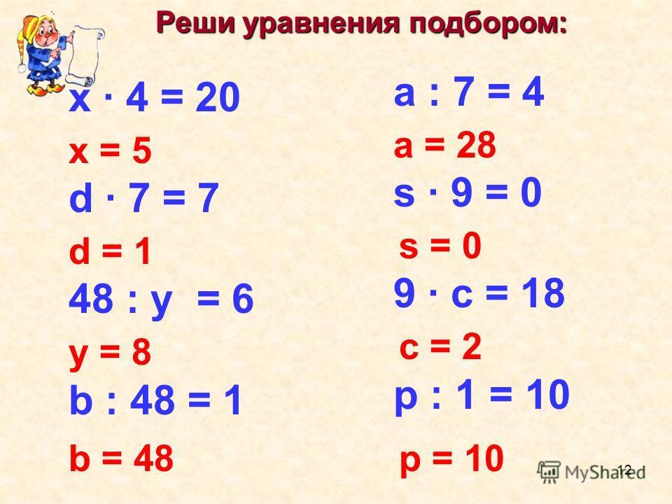 Реши уравнения подбором: Реши уравнения подбором: х · 4 = 20 d · 7 = 7 48 : у = 6 b : 48 = 1 а : 7 = 4 s · 9 = 0 9 · с = 18 р : 1 = 10 х = 5 d = 1 у = 8 b = 48 а = 28 s = 0 с = 2 р = 10 12
