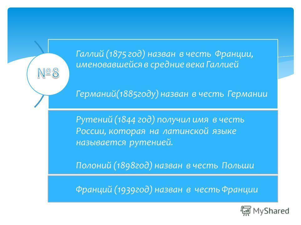 Галлий (1875 год) назван в честь Франции, именовавшейся в средние века Галлией Германий(1885 году) назван в честь Германии Рутений (1844 год) получил имя в честь России, которая на латинской языке называется рутений. Полоний (1898 год) назван в честь