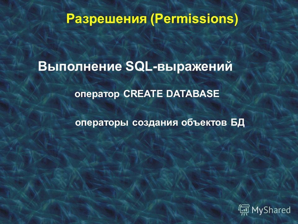 Разрешения (Permissions) Выполнение SQL-выражений оператор CREATE DATABASE операторы создания объектов БД