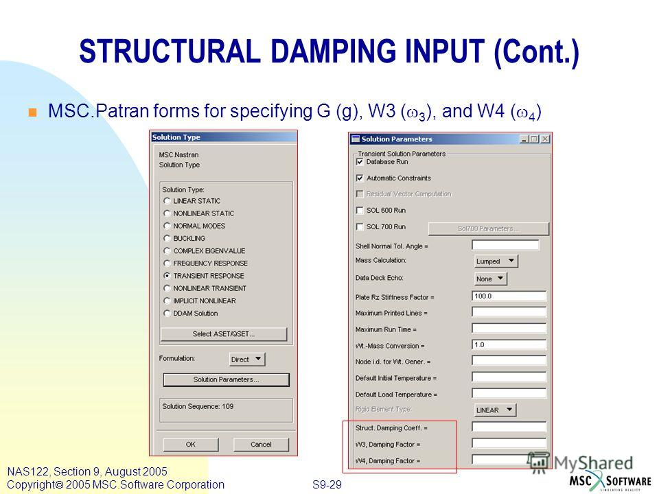 S9-29 NAS122, Section 9, August 2005 Copyright 2005 MSC.Software Corporation STRUCTURAL DAMPING INPUT (Cont.) MSC.Patran forms for specifying G (g), W3 ( 3 ), and W4 ( 4 )