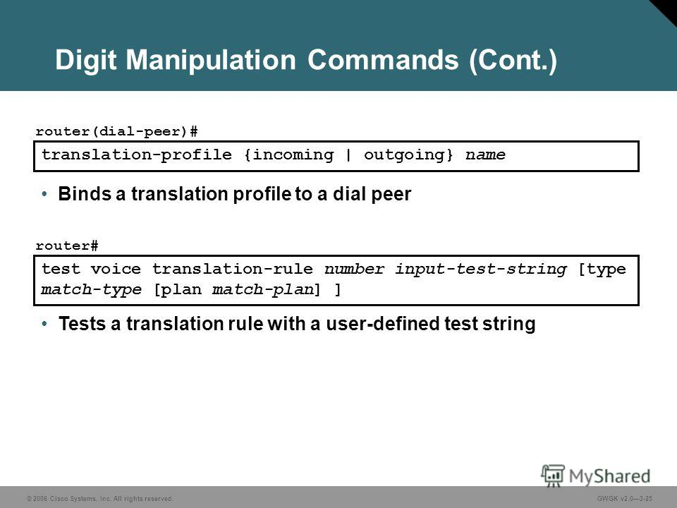 © 2006 Cisco Systems, Inc. All rights reserved.GWGK v2.03-25 Digit Manipulation Commands (Cont.) translation-profile {incoming | outgoing} name router(dial-peer)# Binds a translation profile to a dial peer test voice translation-rule number input-tes