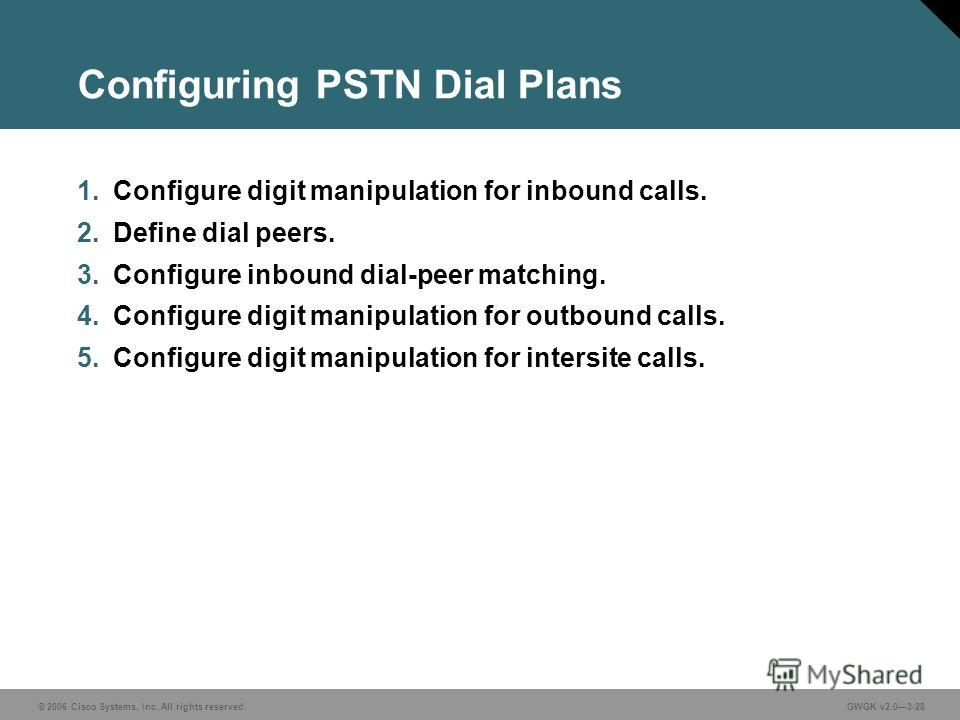 © 2006 Cisco Systems, Inc. All rights reserved.GWGK v2.03-28 Configuring PSTN Dial Plans 1. Configure digit manipulation for inbound calls. 2. Define dial peers. 3. Configure inbound dial-peer matching. 4. Configure digit manipulation for outbound ca