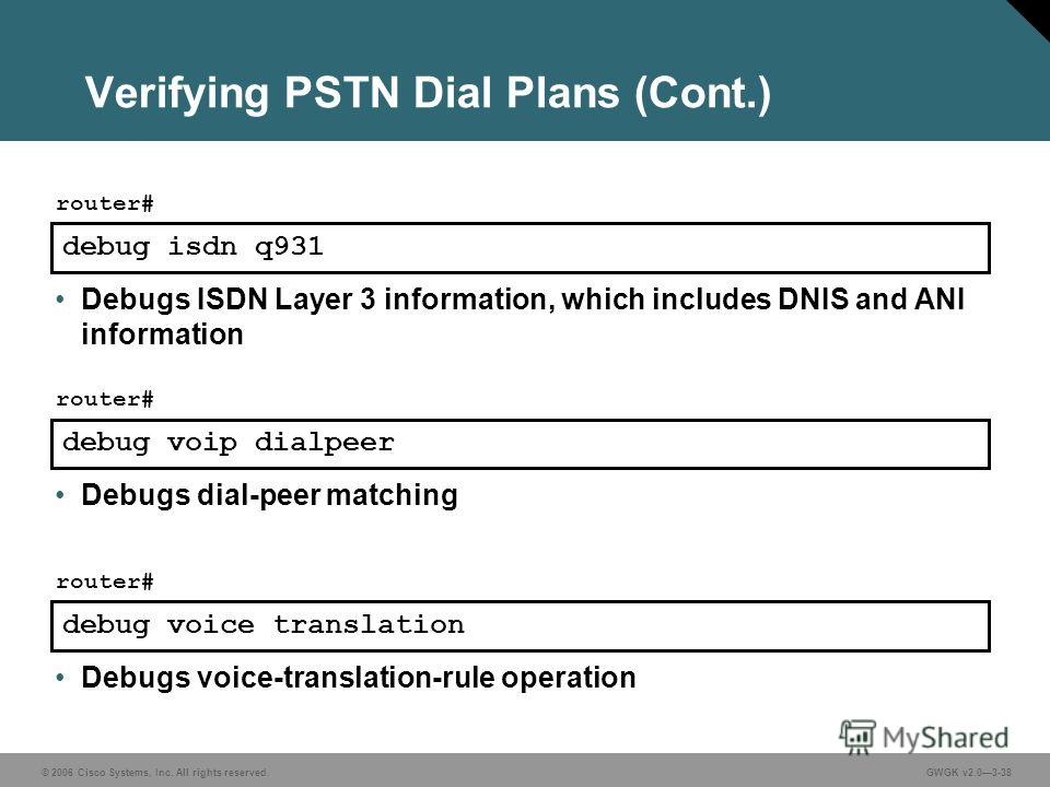 © 2006 Cisco Systems, Inc. All rights reserved.GWGK v2.03-38 Verifying PSTN Dial Plans (Cont.) debug isdn q931 router# Debugs ISDN Layer 3 information, which includes DNIS and ANI information debug voip dialpeer router# Debugs dial-peer matching debu